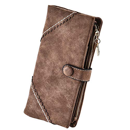 Women Vegan Leather Wallet Bifold Clutch Large Capacity Card Organizer Buckle Long Purse for Girls Candy Color (Coffee)