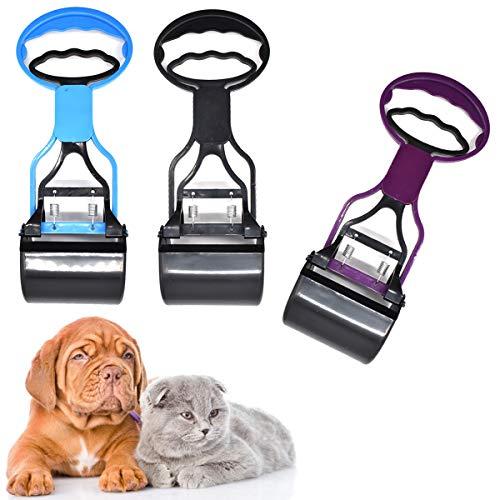 Yueser 3 Piezas Recogedor de Excrementos Portátil Pet Grabber Picker Poo Remover Picker para Exterior/Interior Gato y Perro Animal Waste (Púrpura Negro Azul)
