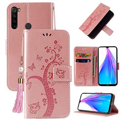Miagon Brieftasche Flip Hülle für Xiaomi Redmi Note 8T,Schön Schmetterling Baum Katze Design PU Leder Buch Stil Stand Funktion Handyhülle Case Cover,Roségold