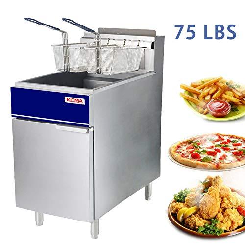 Premium Commercial Deep Fryer - KITMA 75 lb. Natural Gas 5 Tube Floor Fryer with 2 Fryer Baskets - Restaurant Kitchen Equipment for French Fries, 170,000 BTU/h