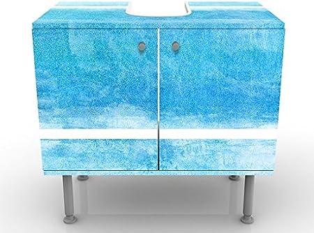 Apalis Waschbeckenunterschrank Blue Touch No.2 60x55x35cm Blau Abstrakt Linien Kurven Gr/ö/ße:55cm x 60cm