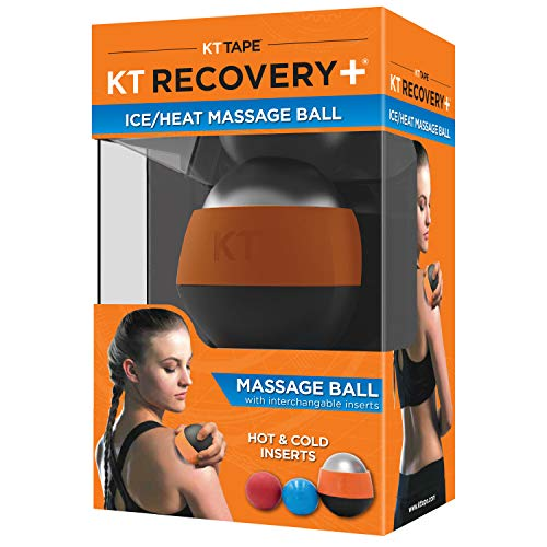 KT TAPE Recovery+ Ice/Heat Massage Ball, Muscle Pain & Stress Relief, HSA/FSA Approved, Therapeutic Roller, Black/Orange, Small 814179022226