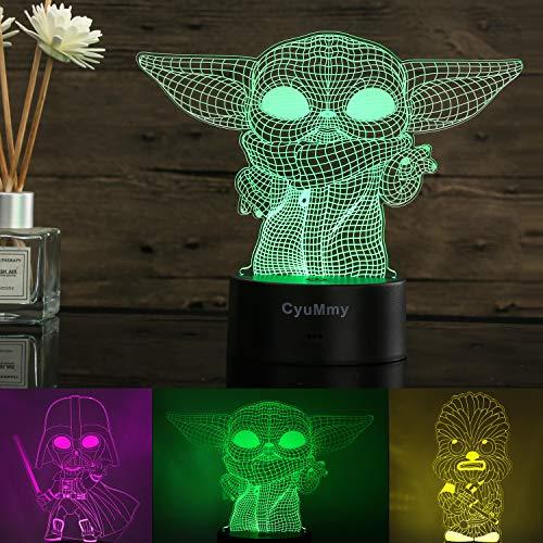 Luz nocturna 3D ilusión de Star Wars para niños, 3 patrones y 16 lámparas de decoración de cambio de color, juguetes y regalos de Star Wars para niños y niñas y cualquier fan de Star Wars