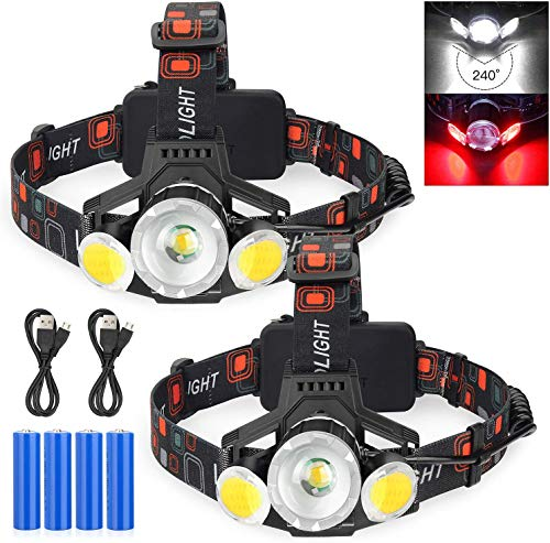 2021 Newest Rechargeable LED Headlamp, 2 Pack 10000 Lumen Super Bright Zoomable Headlight, 4 Modes USB Recharge Flashlight, Waterproof Head Lights with Red Light for Camping Hiking Outdoors