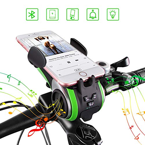 Bike Bluetooth Speakers, UPPEL Portable Wireless Bluetooth Speaker+Bike Light+Bicycle Bell+ Power Bank+ Bike Cell Phone Mount Hands Free Calling Waterproof Outdoor Speakers Support TF Card 10-in-1