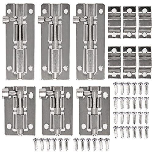 6 Stück Edelstahl Türschlösser, Riegel Tür, Verriegelung für Türen, Türriegel, Riegelschloss, Bolzenriegel, Türverriegelung Schieberiegel, für Innentüren und Holztür