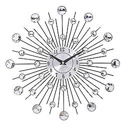 Mrinb 3D Starburst Wall Clock, Creative Crystal Iron Diamond-Studded Luxury Diamond Modern Design for Living Room Bedroom Wall Decoration 13 Inch/33cm