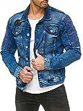 Redbridge Giacca di Jeans da Uomo Elegante Denim Motociclista da Uomo Blu Size Medium