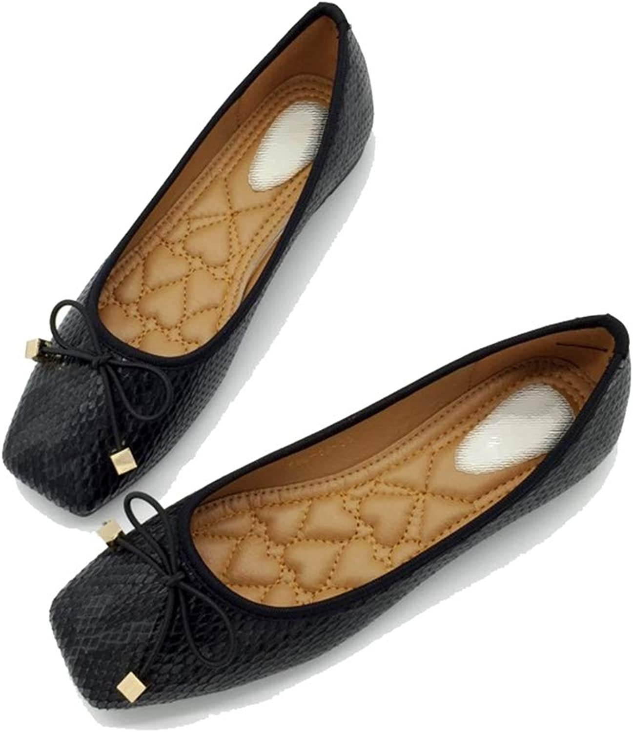 August Jim Women Flats shoes,Ladieds Square Toe Slip-on Ballet Flat shoes