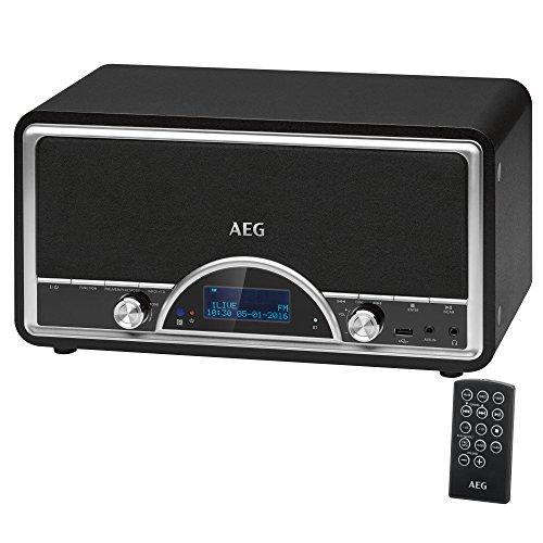 AEG NDR 4378 Nostalgie-Digitalradio mit Bluetooth und DAB+ AUX-IN USB-Port Kopfhöreranschluss (3,5 mm) schwarz