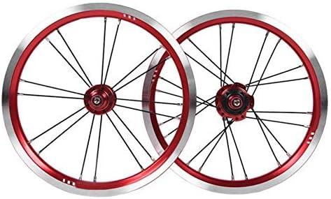 NO BRAND 14 Pulgadas Bicicleta Plegable de la Rueda Delantera de la Rueda Trasera Llantas de aleación de 9 Dientes Llantas for V Freno de Bicicleta Accesorios de Repuesto (Color : Red):