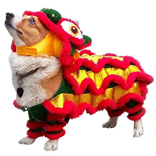 HarldtyJane Halloween Lustige Hundebekleidung Neujahrs Haustier Chinesisches Kostüm Drachentanz Löwe Hundepartei Löwentanz Rote Festliche Glückliche Katze Kleidung (M)