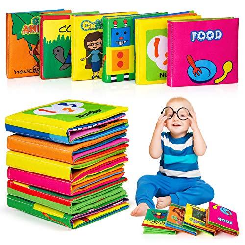 6 Pezzi Libro Stoffa Bambini, MOOKLIN ROAM Libro Tattile Interattivo Cognition Libri Tessuto Suono Infantile educativo Rattle Toy Passeggino per Bambini Neonati