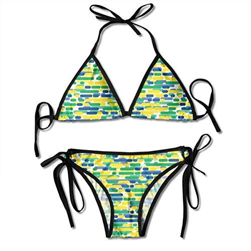 Badeanzug verstellbare Patrioten brasilianische Flagge Farbe Streifen sexy Bikini Set 2 Stück schwarz
