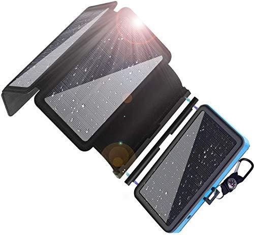 Yelomin ソーラーチャージャー モバイルバッテリー 20000mAh 大容量 携帯 ソーラー充電器 急速充電 スマホ充電器 4枚ソーラーパネル 太陽光発電 防災 防水 LED 4USBポート 旅行 災害 アウトドアに大活躍 全機種対応