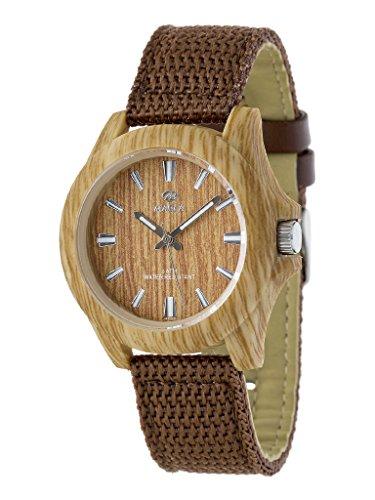 Marea Woodlook L Unisex Armbanduhr in Holz Optik mit braunen Kunstleder/Nylon Uhrband
