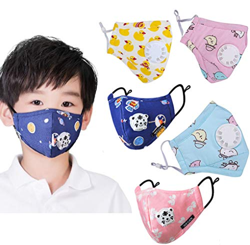 Visit the Childrens Face Mask with N95 Respiration Valve Filter (5 pack) on Amazon.
