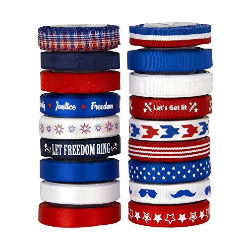 VATIN 18 Rolls Vote/Election/Patriotic Ribbons 4th of July Printed Grosgrain Ribbons Polyester Satin...