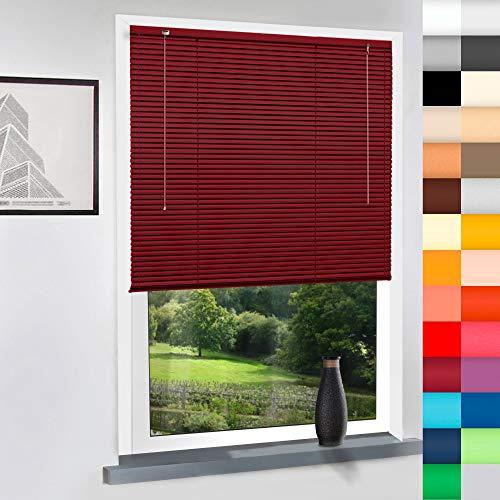 Aluminium Jalousie nach Maß, hochqualitative Wertarbeit, 28 Farben verfügbar, Maßanfertigung, für Fenster und Türen, Alu Jalousien, Decken und Wandmontage (Bordeaux Rot, Höhe: 130cm x Breite: 75cm)