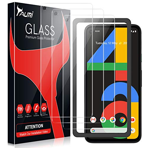 TAURI 3 Stück Schutzfolie Kompatibel Mit Google Pixel 4A Panzerglas Nicht Kompatibel MitPixel 4A 5G Mit Positionierhilfe 9H Festigkeit Panzerglasfolie HD Klar Blasenfrei Kratzfest 2.5D Rand
