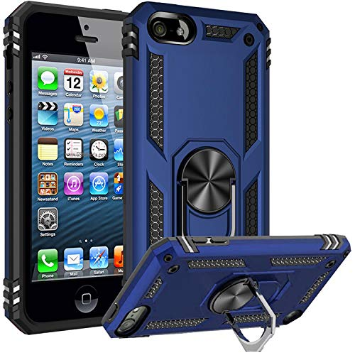 Fetrim iPod Touch 7 Case, Touch 6 Case, Touch 5 Case, Dual Layer Shockproof Protective Player Case with Rotation Ring Car Mount Kickstand for Apple iPod Touch 5/6/7/5th/6th/7th Navy Blue