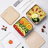 Fiambrera de doble capa Set Caja Bento para microondas de madera Fiambrera cuadrada para alimentos para estudiantes trabajadores