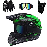 VOMI Casque Motocross avec Goggle Gants Masque Adulte Enfant Casques Intégral VTT Casque Moto Cross MX ATV Scooter De Descente Adulte Casque D.O.T Certified