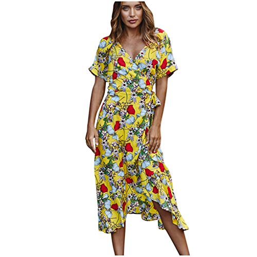 SHINEHUA Dames Boho zomerjurk lange bloemenjurk maxi-jurk knielengte vrijetijdsjurk wikkeljurk korte mouwen V-hals strandjurk met gleuf