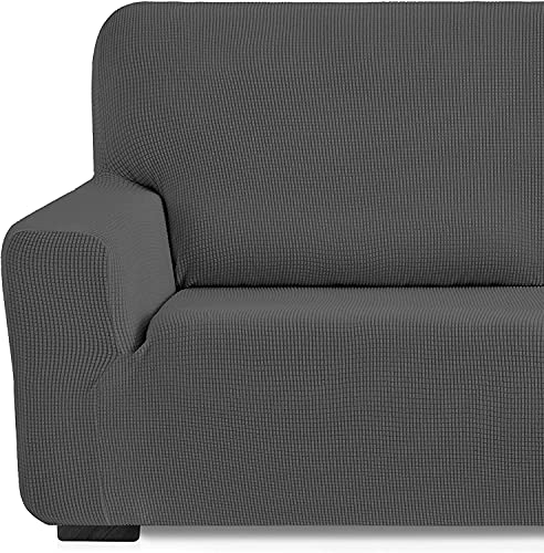 Funda elástica Sofa Adaptable rústica (3 Plazas (180-240 cn), Gris)