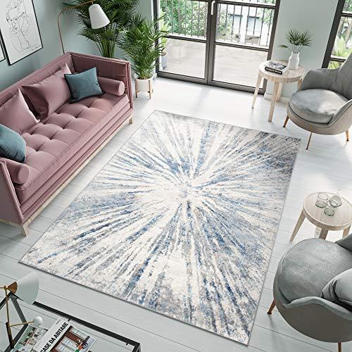 Tapiso Valley Alfombra de Salón Comedor Dormitorio Diseño Moderno Azul Marino Gris Crema Abstracto Suave 200 x 300 cm