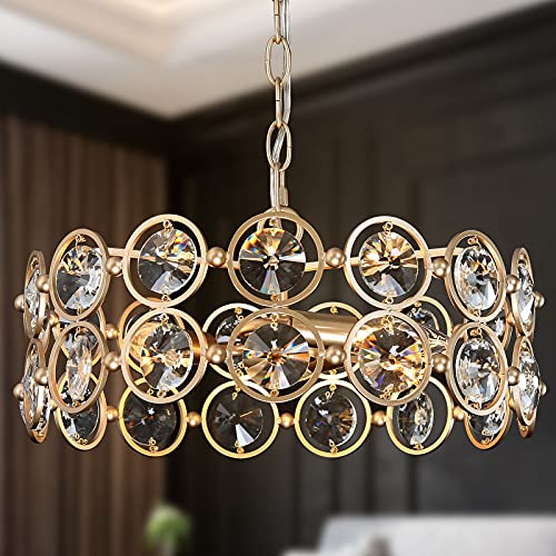 Modern Gold Chandelier, 3-Light Luxury Drum Chandelier Lighting, 15.5'' Round Pendant Hanging...
