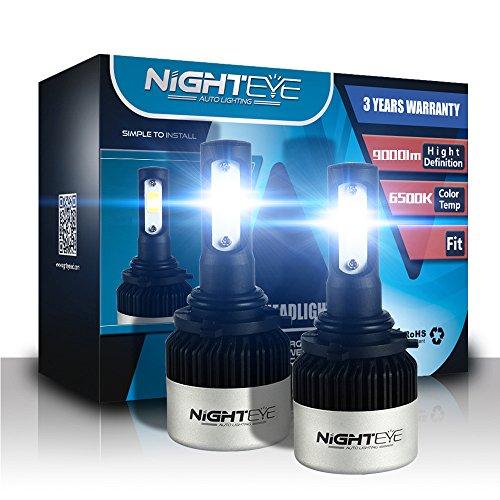 H1 de voiture LED Ampoules de phare, Nighteye 72W 9000LM 6500 K Blanc froid IP68 étanche CSP Puce LED Automotive ampoules tout-en-un kit de conversion - 3 ans de garantie (lot de 2)