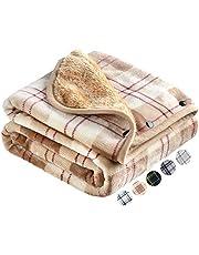 HAPGO ひざ掛け ブランケット 大判 選べる5色2サイズ 100×140CM 4way 着る毛布 ボタン付き 改良 防寒対策 あったか チェック柄 おしゃれ 吸湿保温 抗菌加工 静電気防止 洗濯可能 手触り 家·オフィス·アウトドア·車·出張 などに適用 通年使用 (Lサイズ(100×140CM), ベージュ)