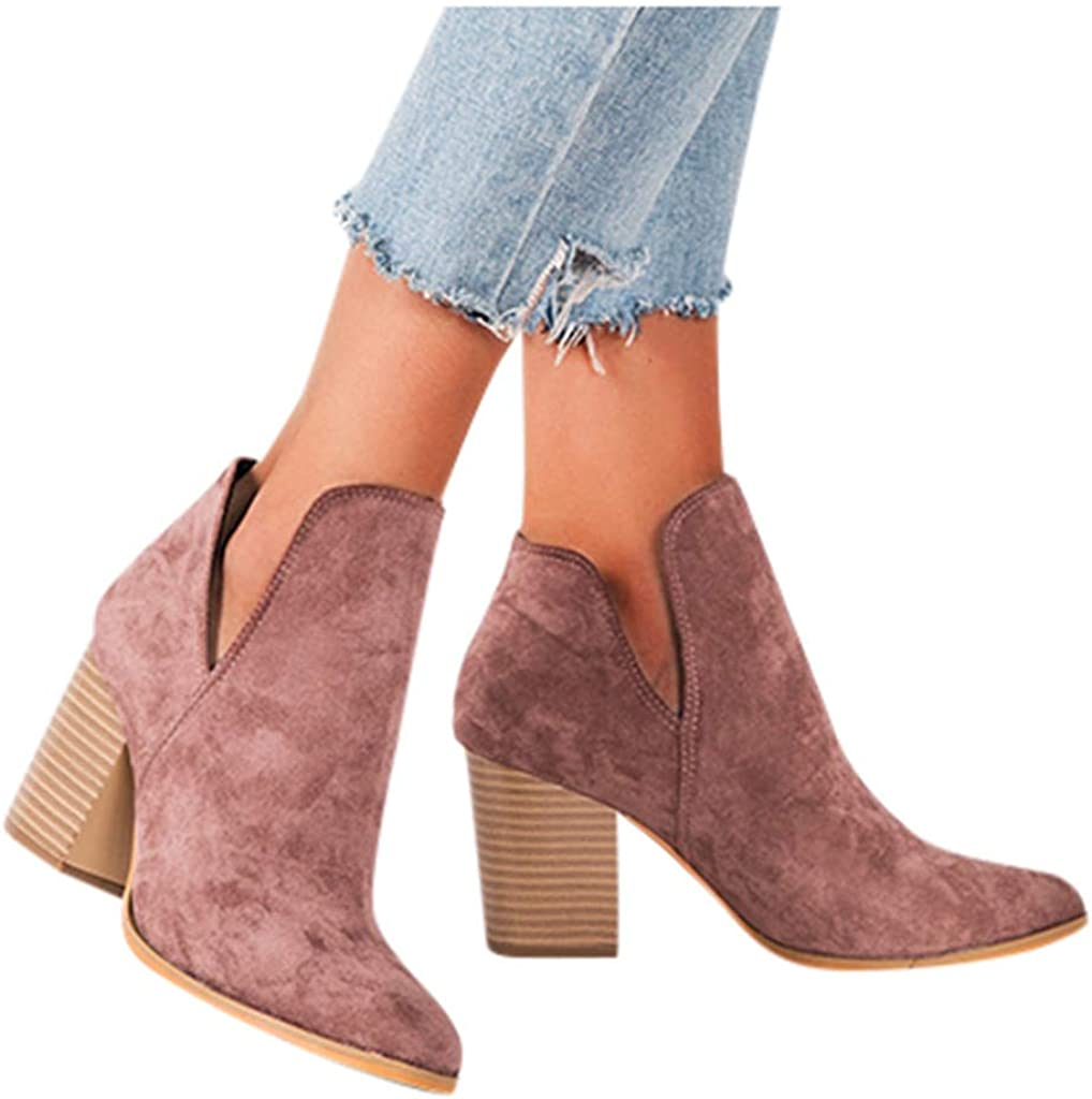 UOCUFY Boots for Women with Sales Heel Booties Zip Squ Womens Up OFFer Ankle