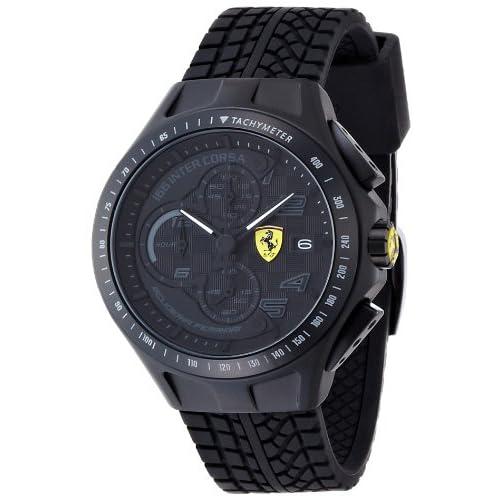 Orologio da uomo con cinturino in silicone nero, Scuderia Ferrari 0830105