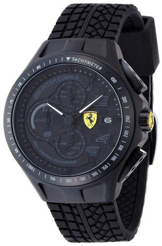 Ferrari 830105 - Reloj analógico de Cuarzo para Hombre, Correa de Silicona Color Negro (cronómetro)