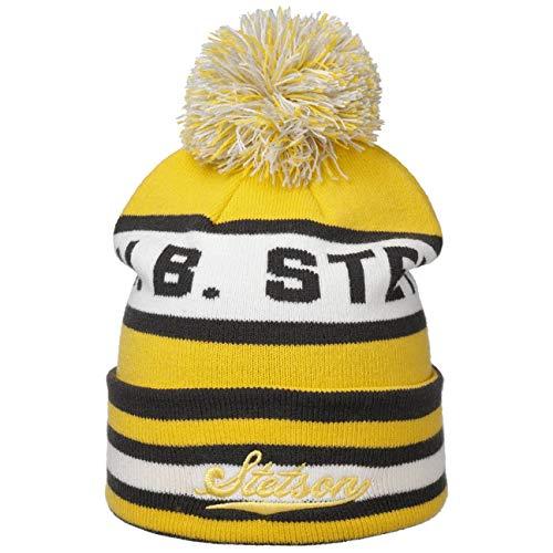 Stetson John B Bommelmütze Damen/Herren - Einheitsgröße (54-60 cm) - Mütze mit Bommel - Strickmütze mit Umschlag - Beanie Herbst/Winter gelb One Size