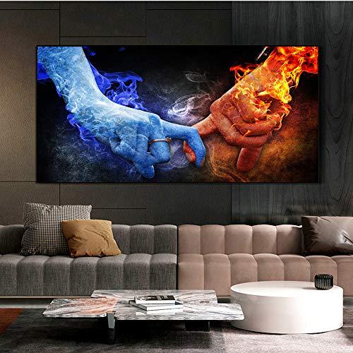 Geiqianjiumai Moderne Liebe mit EIS und Feuer Moderne Leinwand Malerei Pop Graffiti Kunst Poster und Drucke Abstrakter Liebhaber Rahmenlose Malerei 30X60CM