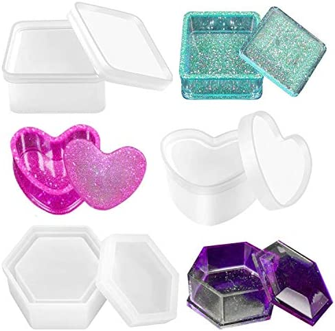 Pixiss Box Resin Molds Silicone Heart Jewelry Box Molds Hexagon Container Box Mold and Square product image