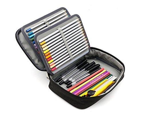 Trousse à Crayons de Couleurs Professionnel 72 Trous Plumier Grande Capacité Multifonction Sac à Crayons 4 Couches Trousse de Stylos en Chiffon Abrasif Étanche Simple Mode pour Enfant Adulte