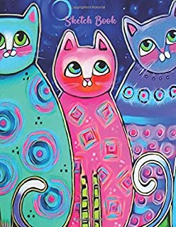 Sketch Book: Artist Sketching Pad | Cute Water Color Rainbow Cats | Large Unlined Blank Pages Note Book 8.5 X 11