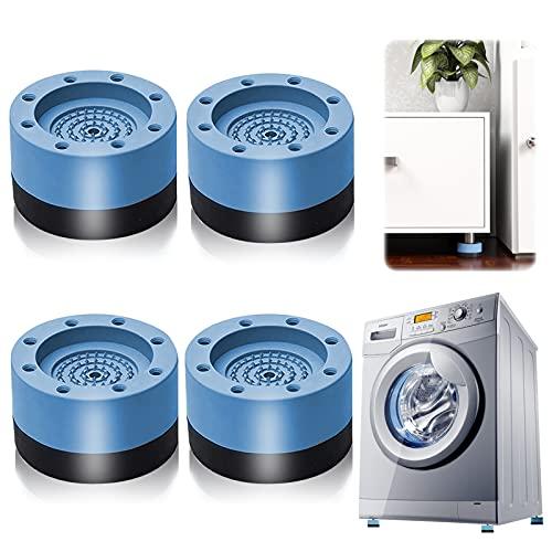 Patins Anti Vibration, 4 Pièces Pieds en Caoutchouc pour Machine à Laver Coussinets Pied de Machine à Laver Tampon Anti-vibration, pour machine à laver et sèche-linge (bleu3.5cm)