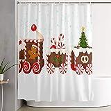 VINISATH Duschvorhang,Weihnachtszug aus Lebkuchencreme & Süßigkeiten,wasserdichter Badvorhang mit 12 Haken Duschvorhangringen 180x180cm