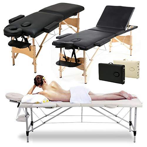Tragbare Massageliege, 3-teilig, zusammenklappbar, leicht, für Tattoo, Beautysalon, Therapie, Reiki-Heilung, mit Holzrahmen und Tragetasche, Beige