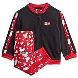 adidas GM6937 INF DY MM Jogg Sport Set Baby-Girls Top:Black/Vivid Red/White Bottom:Black/Vivid Red s13/white 3-4A