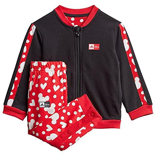 adidas GM6937 INF DY MM Jogg Sport Set Baby-Girls Top:Black/Vivid Red/White Bottom:Black/Vivid Red s13/white 6-9M