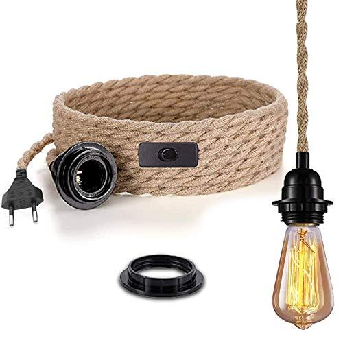 Lámpara colgante con interruptor, lino vintage, cuerda con 4,5 metros de cuerda de cáñamo trenzada, casquillo E27, para cocina, 2 hilos, 0,75 mm², para bar, cimientos o almacén, granja (sin bombilla)