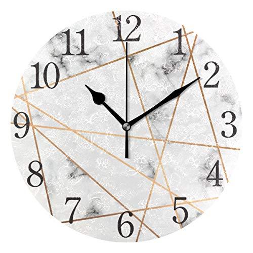 ISAOA Wanduhr aus grauem Marmor, goldfarben, geometrisch, geräuschlos, nicht tickend, rund, für Schlafzimmer, Wohnzimmer, Küche, Heimdekoration