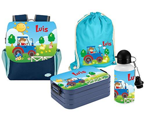 Mein Zwergenland   Personalisiertes Kindergartenrucksack-Set   Happy Knirps Next Print   Kinderrucksack, Lunchbox Maxi, Trinkflasche, Turnbeutel mit Name   Blau   Traktor