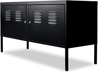 vidaXL TV Stand Steel Black Entertainment Unit Side Cabinet Storage Cupboard
